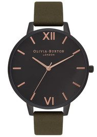 Olivia Burton After Dark Ip Black Watch - Khaki  & Rose Gold