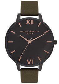 Olivia Burton After Dark Ip Black Watch - Khaki  & Rose Gold