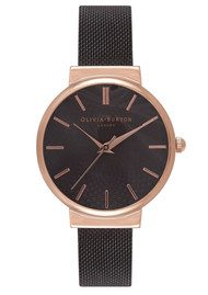 Olivia Burton The Hackney Black Mesh Watch - Rose Gold