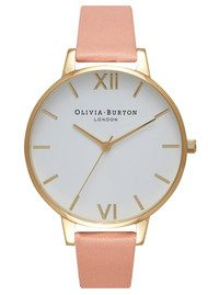 Olivia Burton Big Dial White Dial Watch - Dusty Pink & Gold