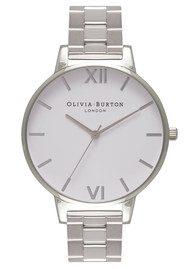 Olivia Burton Big Dial White Dial Bracelet Watch - Silver