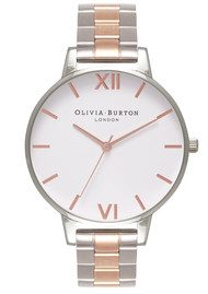Olivia Burton White Dial Bracelet Watch - Silver & Rose Gold