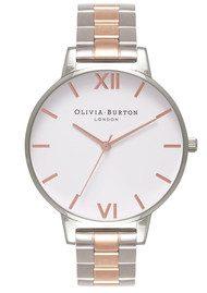Olivia Burton White Dial Bracelet Watch - Silver & Rose Gold