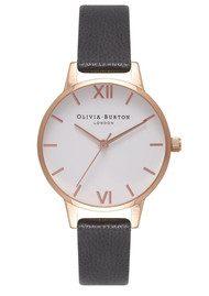 Olivia Burton Midi Dial White Dial Watch - Black & Rose Gold