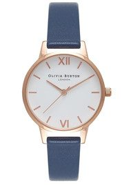 Olivia Burton Midi Dial White Dial Watch - Navy & Rose Gold