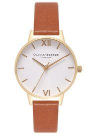 Olivia Burton Midi Dial White Dial Watch - Tan & Rose Gold