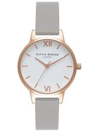 Olivia Burton Midi Dial White Dial Watch - Grey & Rose Gold