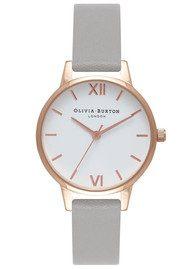 Olivia Burton Midi Dial White Dial Watch - Grey & Rose Gold