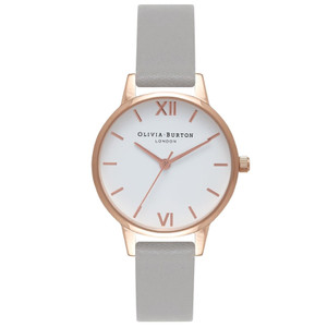 Midi Dial White Dial Watch - Grey & Rose Gold