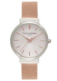 Olivia Burton The Hackney Mesh Watch - Silver & Rose Gold