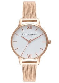 Olivia Burton Midi White Dial Mesh Watch - Rose Gold