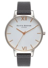 Olivia Burton Big Dial White Dial Watch - Black, Silver & Rose Gold