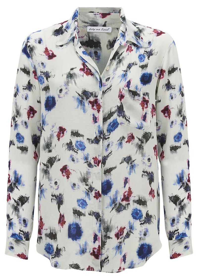 Lily and Lionel Renee Classic Silk Shirt - White main image