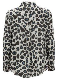 Lily and Lionel Isla Sky Leopard Classic Silk Shirt - White