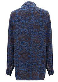 Lily and Lionel Betty Blue Leopard Print Silk Boyfriend Shirt - Shot Blue