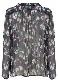 Lily and Lionel Renee Black Floral Chiffon Silk Shirt - Black
