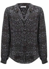 Lily and Lionel Betty Charcoal Leopard Print Silk Shirt - Charcoal