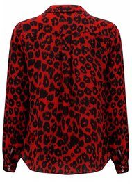 Lily and Lionel Isla Red Leopard Print Silk Girlfriend Shirt - Red