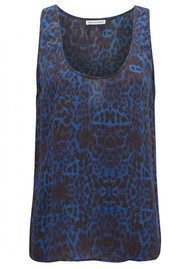 Lily and Lionel Betty Blue Leopard Silk Tank Top - Shot Blue