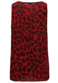 Lily and Lionel Isla Red Leopard Print Silk Tank Top - Red