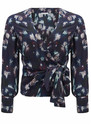 Lily and Lionel Renee Black Floral Silk Wrap Top - Black