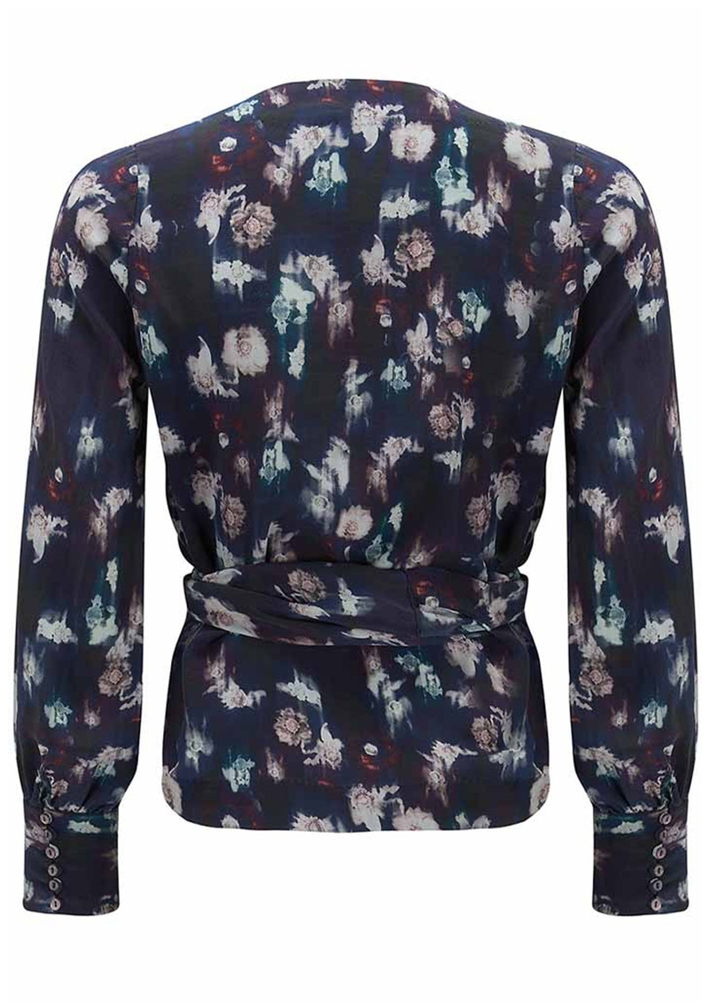Lily and Lionel Renee Black Floral Silk Wrap Top - Black main image