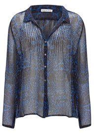 Lily and Lionel Betty Blue Leopard Print Chiffon Silk Shirt - Shot Blue