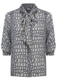 Mercy Delta Winnie Moc Croc Silk Blouse - Midnight