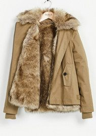 PARKA LONDON Aya Faux Fur Lined Jacket - Light Khaki