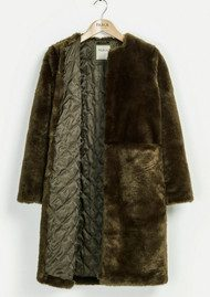 PARKA LONDON Evie Faux Fur Coat - Olive