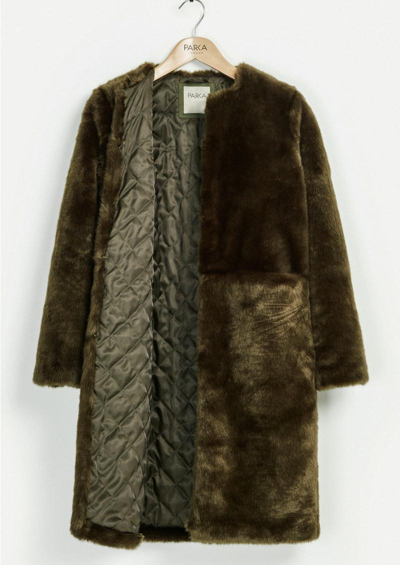 PARKA LONDON Evie Faux Fur Coat - Olive main image
