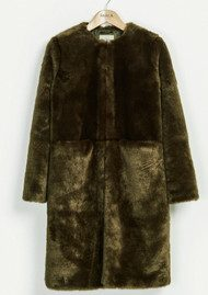 PARKA LONDON Evie Short Faux Fur Coat - Olive