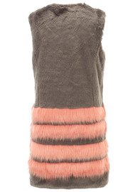 Unreal Fur Tundra Long Multi Stripe Vest - Charcoal & Peach