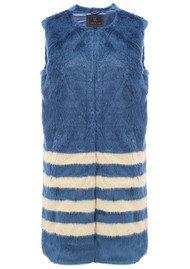 Unreal Fur Tundra Long Multi Stripe Vest - Midnight Blue & Champagne