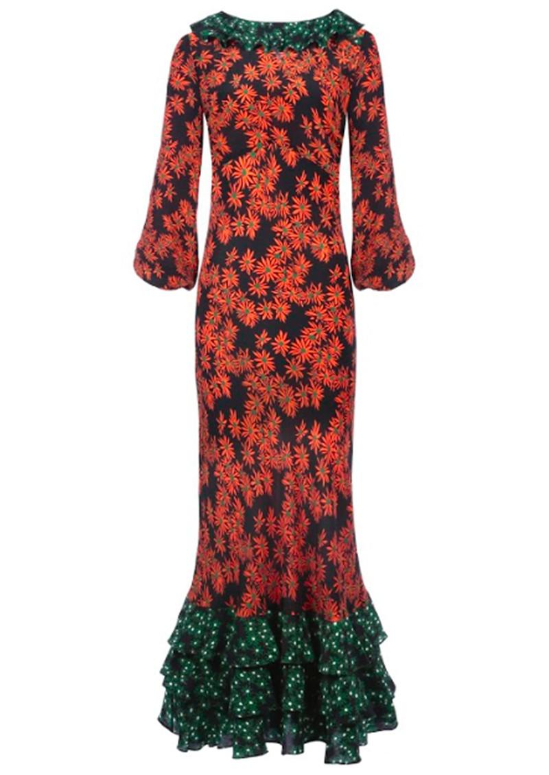 RIXO London Suki Dress - Daisy Orange Green main image