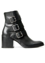 Hudson London Moss Leather Buckle Boot - Black