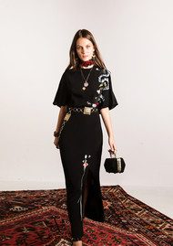 RIXO London Louise Dress - Black with Embroidery