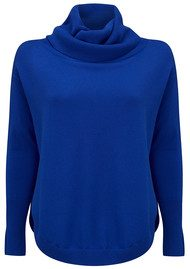 COCOA CASHMERE Cowl Neck Curved Hem Jumper - Electric Blue