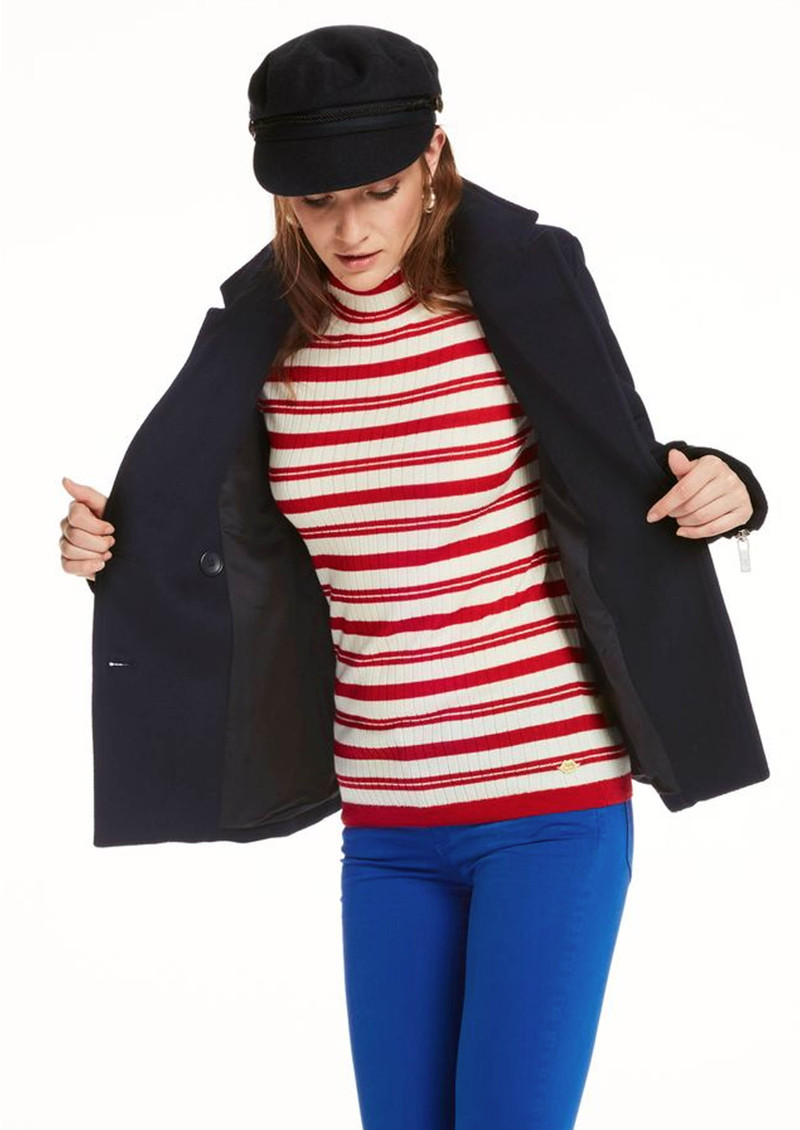 Maison Scotch Wool Peacoat with Zips - Navy main image