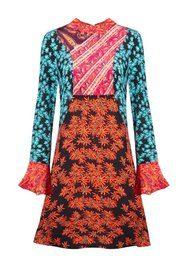 RIXO London Tilly Silk Dress - Orange Teal