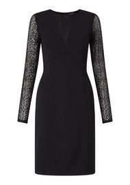 ADRIANNAPAPELL Long Sleeve Lace Detail Fitted Dress - Black