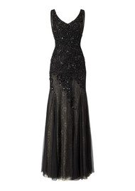 ADRIANNAPAPELL Long Sleeveless Beaded Gown - Black