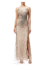 ADRIANNAPAPELL Sleeveless Beaded Mermaid Slit Gown - Taupe Pink