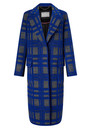 GRACE & OLIVER Harper Checked Coat - Blue Check Crombie