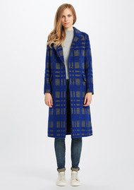 Harper Checked Coat - Blue Check Crombie