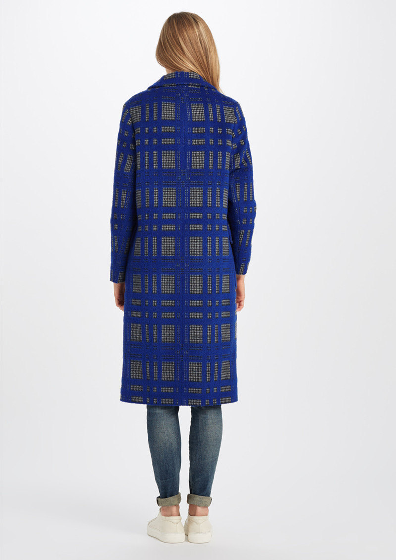 GRACE & OLIVER Harper Checked Coat - Blue Check Crombie main image
