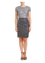 ADRIANNAPAPELL Colour Block Beaded Cocktail Dress - Silver & Gunmetal