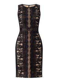 ADRIANNAPAPELL Striped Lace Sleeveless Dress - Black and Bisque