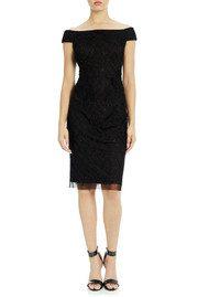 ADRIANNAPAPELL Velvet Off The Shoulder Beaded Dress - Black