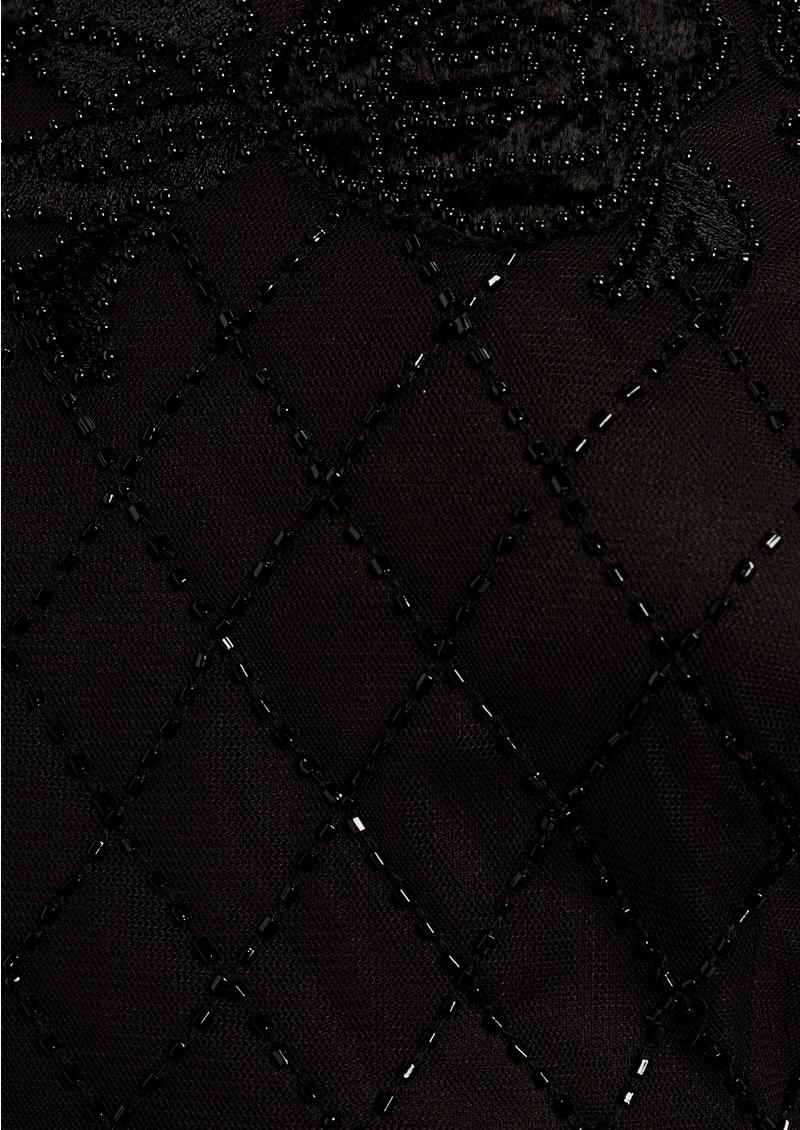 ADRIANNAPAPELL Velvet Off The Shoulder Beaded Dress - Black main image